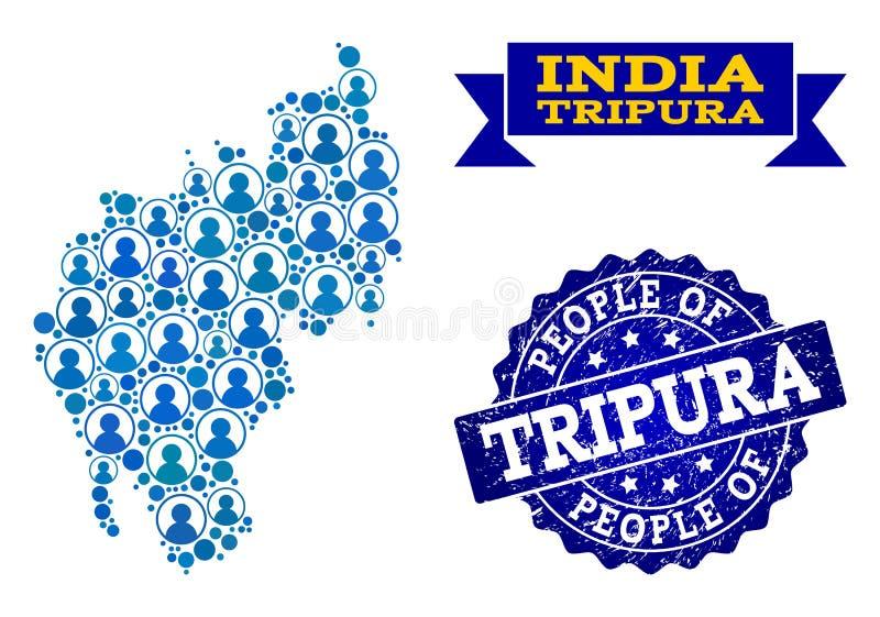 Collage de la gente del mapa de mosaico del estado de Tripura y del sello del sello del Grunge stock de ilustración