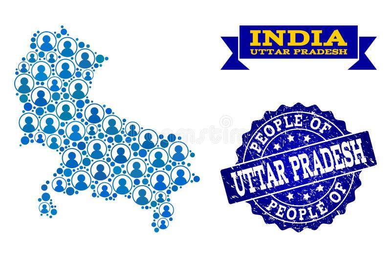 Collage de la gente del mapa de mosaico del estado de Uttar Pradesh y del sello texturizado del sello libre illustration