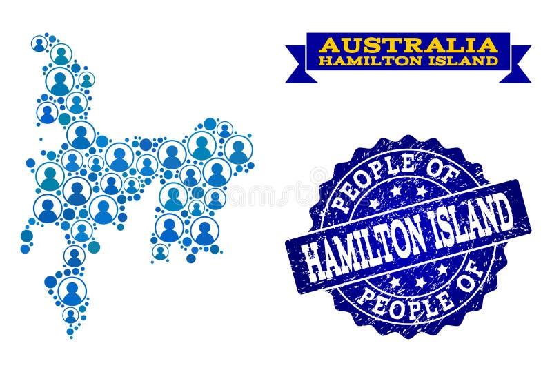 Collage de la gente del mapa de mosaico de Hamilton Island y del sello texturizado stock de ilustración