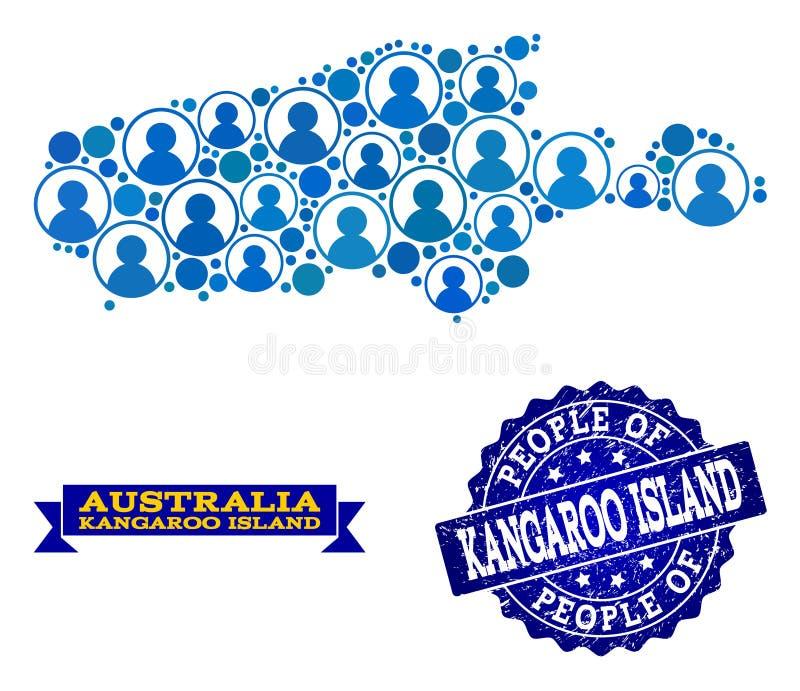 Collage de la gente del mapa de mosaico de la isla del canguro y del sello texturizado del sello libre illustration