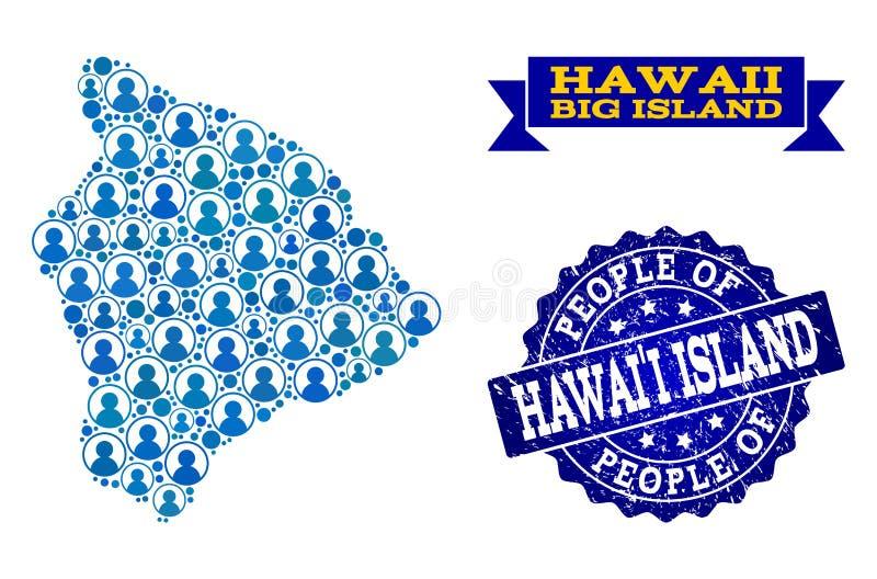 Collage de la gente del mapa de mosaico de la isla grande de Hawaii y del sello rasguñado ilustración del vector