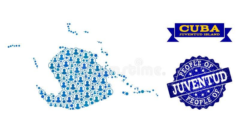 Collage de la gente del mapa de mosaico de la isla de Juventud y del sello de la desolación stock de ilustración