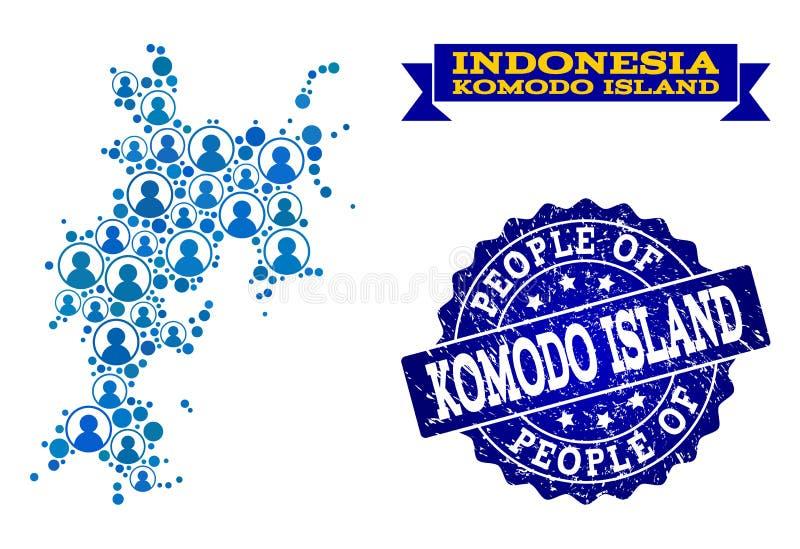 Collage de la gente del mapa de mosaico de la isla de Komodo y del sello texturizado ilustración del vector