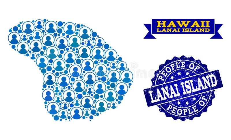 Collage de la gente del mapa de mosaico de la isla de Lanai y del sello del Grunge ilustración del vector