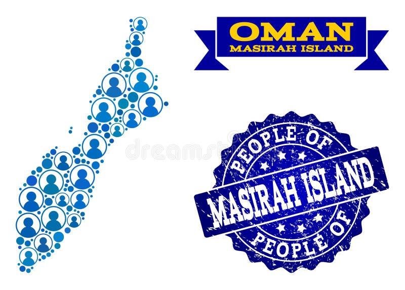 Collage de la gente del mapa de mosaico de la isla de Masirah y del sello de la desolación ilustración del vector