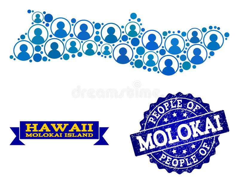 Collage de la gente del mapa de mosaico de la isla de Molokai y del sello de la desolación stock de ilustración