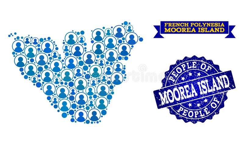 Collage de la gente del mapa de mosaico de la isla de Moorea y del sello de la desolación stock de ilustración