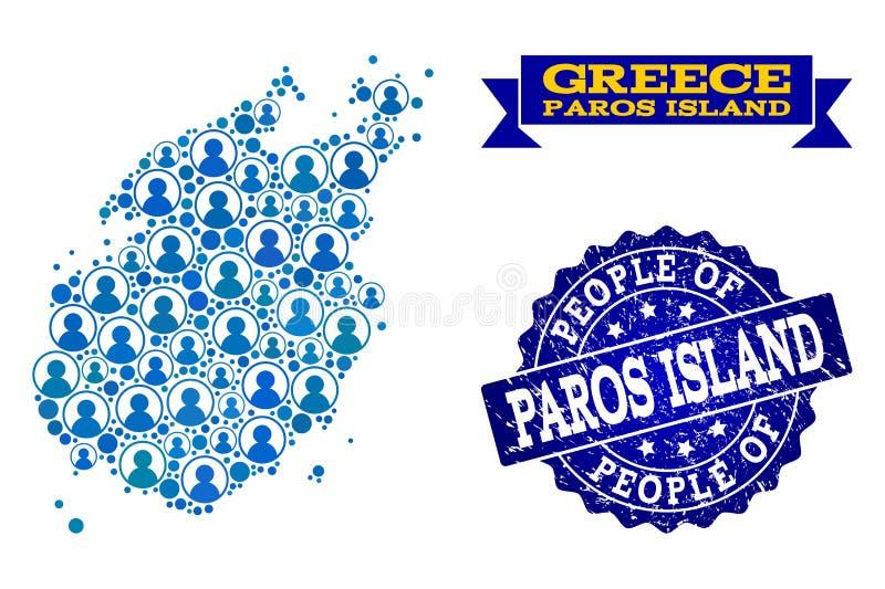 Collage de la gente del mapa de mosaico de la isla de Paros y del sello de la desolación stock de ilustración