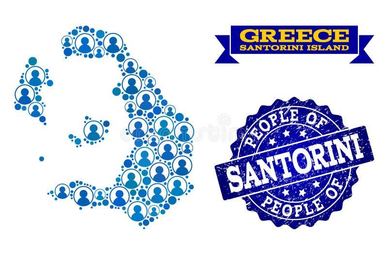 Collage de la gente del mapa de mosaico de la isla de Santorini y del sello del sello de la desolación stock de ilustración