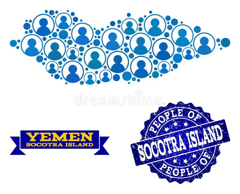 Collage de la gente del mapa de mosaico de la isla de Socotra y del sello rasguñado del sello ilustración del vector