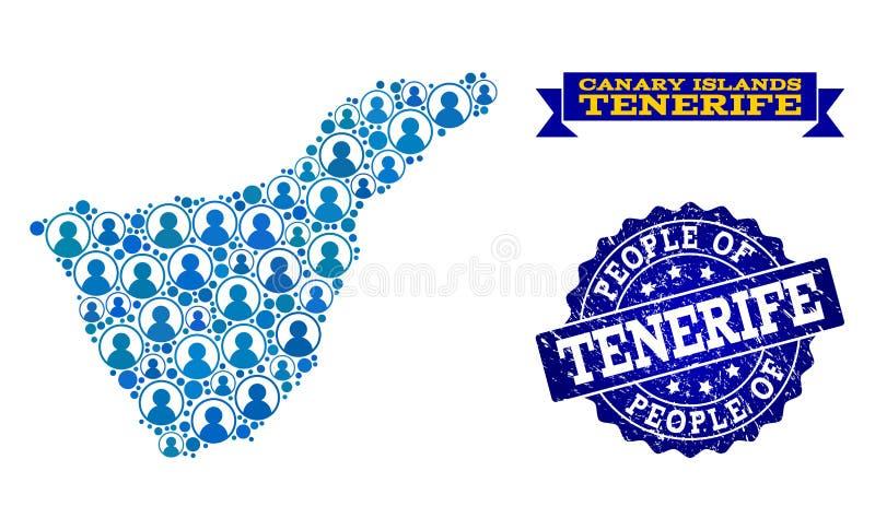 Collage de la gente del mapa de mosaico de la isla de Tenerife y del sello del sello del Grunge stock de ilustración