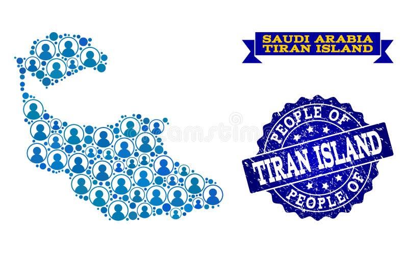 Collage de la gente del mapa de mosaico de la isla de Tiran y del sello texturizado libre illustration