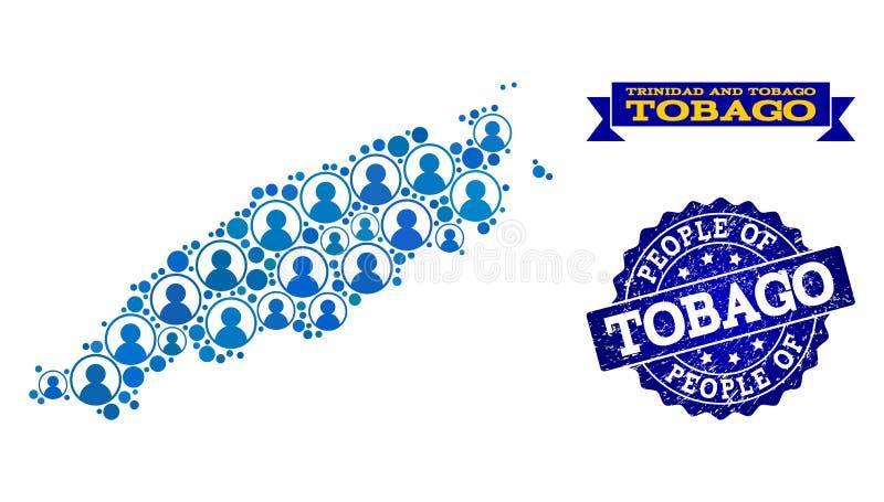 Collage de la gente del mapa de mosaico de la isla de Trinidad y Tobago y del sello texturizado ilustración del vector