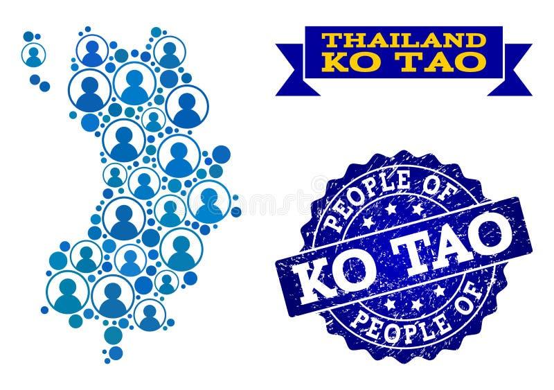 Collage de la gente del mapa de mosaico de Ko Tao y sello rasguñado del sello libre illustration