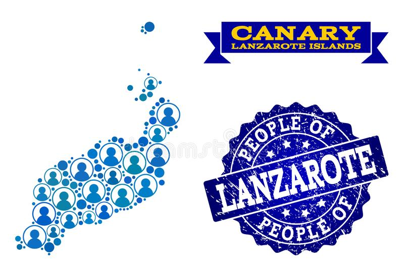 Collage de la gente del mapa de mosaico de las islas de Lanzarote y del sello del Grunge libre illustration