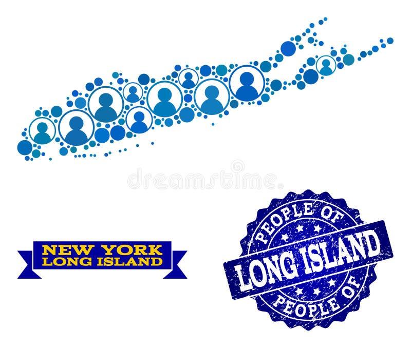 Collage de la gente del mapa de mosaico de Long Island y del sello del sello del Grunge libre illustration