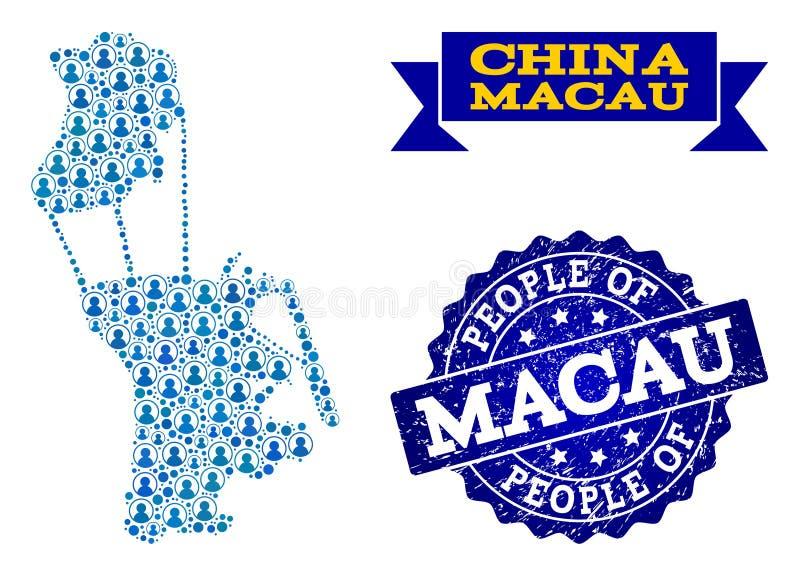 Collage de la gente del mapa de mosaico de Macao y del sello rasguñado stock de ilustración