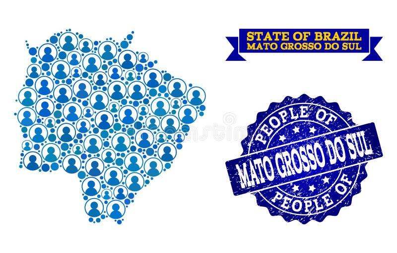 Collage de la gente del mapa de mosaico de Mato Grosso Do Sul State y del sello de la desolación ilustración del vector