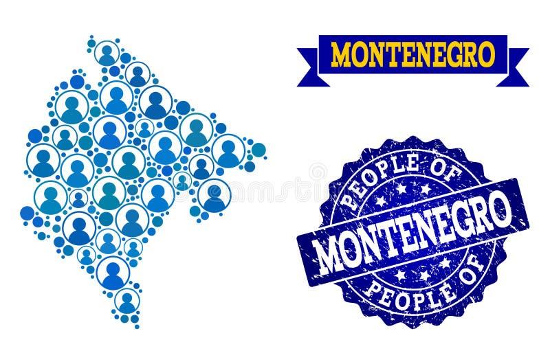 Collage de la gente del mapa de mosaico de Montenegro y del sello rasguñado ilustración del vector