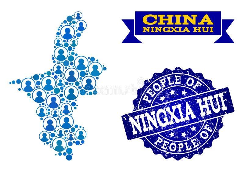Collage de la gente del mapa de mosaico de Ningxia Hui Region y del sello de la desolación stock de ilustración
