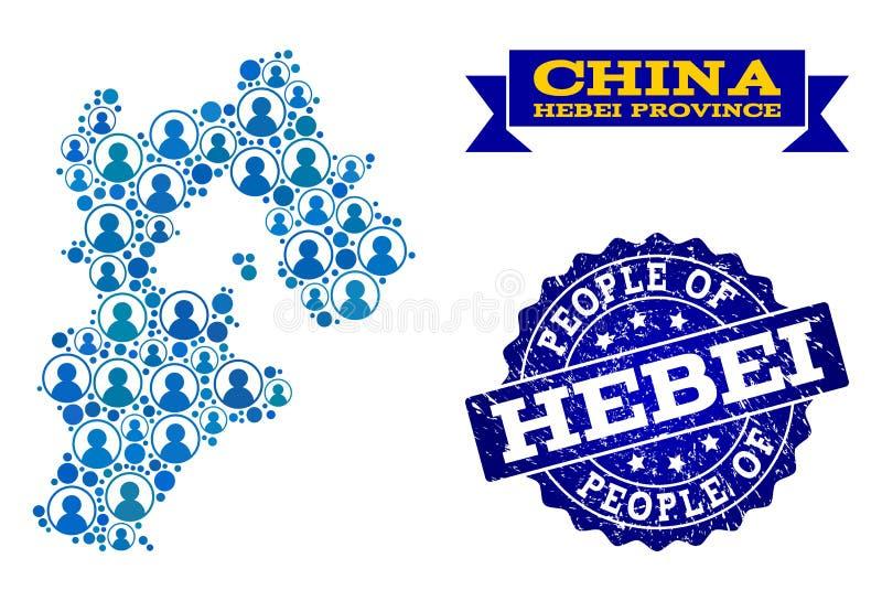 Collage de la gente del mapa de mosaico de la provincia de Hebei y del sello del sello del Grunge stock de ilustración