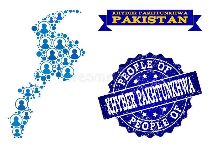 Collage de la gente del mapa de mosaico de la provincia de Khyber Pakhtunkhwa y del sello texturizado libre illustration