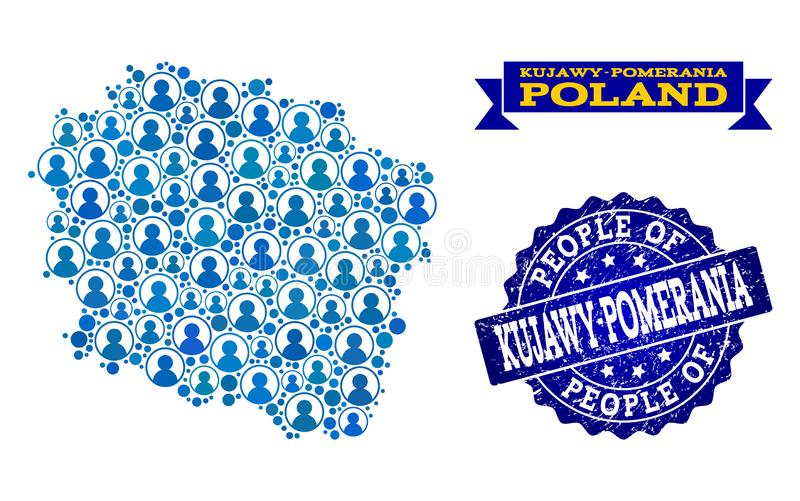 Collage de la gente del mapa de mosaico de la provincia de Kujawy-Pomerania y del sello del sello de la desolación stock de ilustración