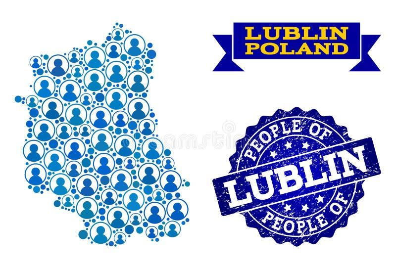 Collage de la gente del mapa de mosaico de la provincia de Lublin y del sello texturizado stock de ilustración