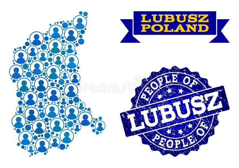 Collage de la gente del mapa de mosaico de la provincia de Lubusz y del sello del sello de la desolación libre illustration