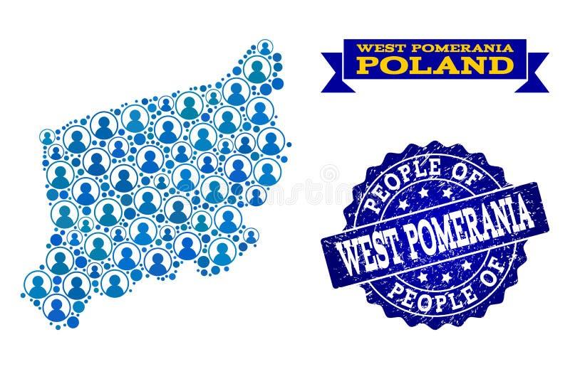 Collage de la gente del mapa de mosaico de la provincia de Pomerania y del sello del oeste del sello de la desolación ilustración del vector
