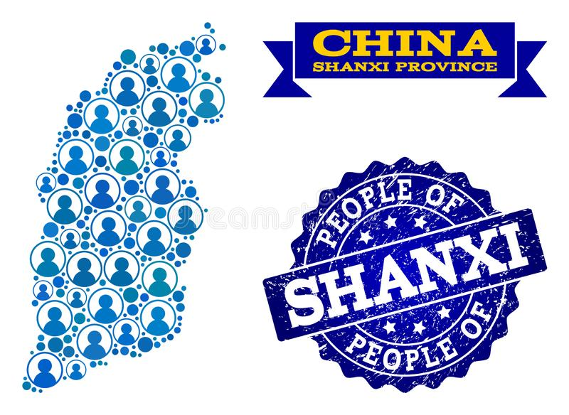 Collage de la gente del mapa de mosaico de la provincia de Shanxi y del sello del Grunge stock de ilustración