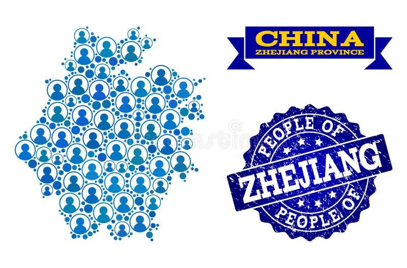 Collage de la gente del mapa de mosaico de la provincia de Zhejiang y del sello de la desolación ilustración del vector