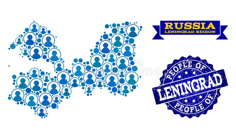 Collage de la gente del mapa de mosaico de la región de Leningrad y del sello rasguñado ilustración del vector