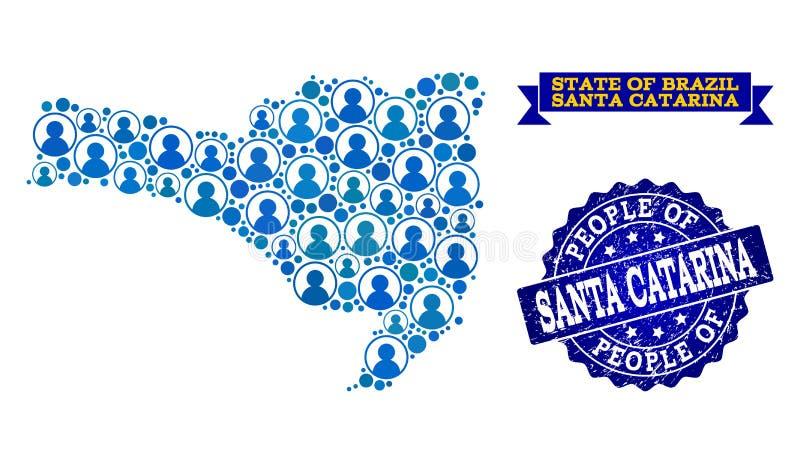 Collage de la gente del mapa de mosaico de Santa Catarina State y del sello de la desolación libre illustration