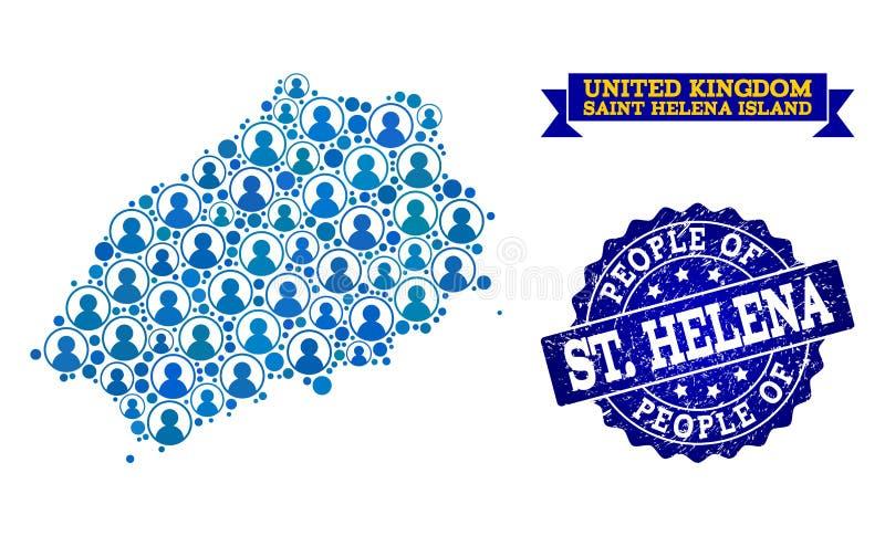 Collage de la gente del mapa de mosaico del santo Helena Island y del sello del Grunge ilustración del vector