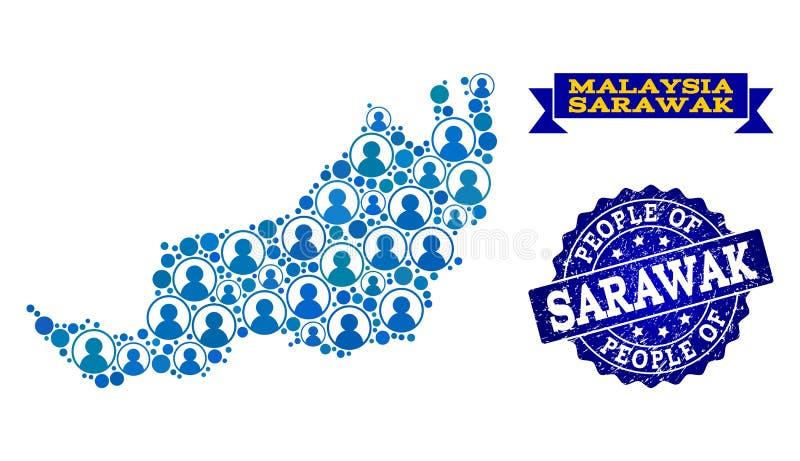 Collage de la gente del mapa de mosaico de Sarawak y del sello rasguñado libre illustration