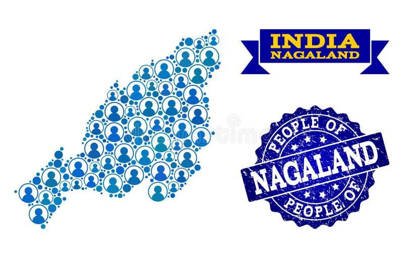 Collage de la gente del mapa de mosaico del sello del sello del estado y de la desolación de Nagaland libre illustration