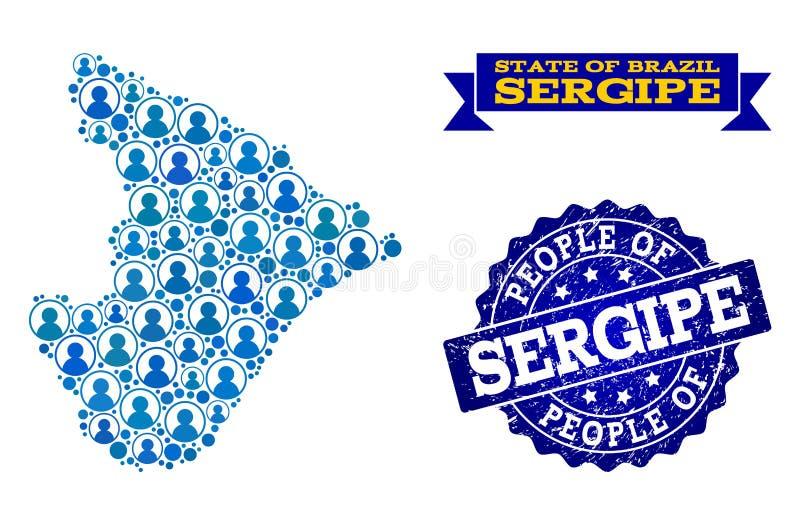 Collage de la gente del mapa de mosaico del sello del estado y de la desolación de Sergipe libre illustration