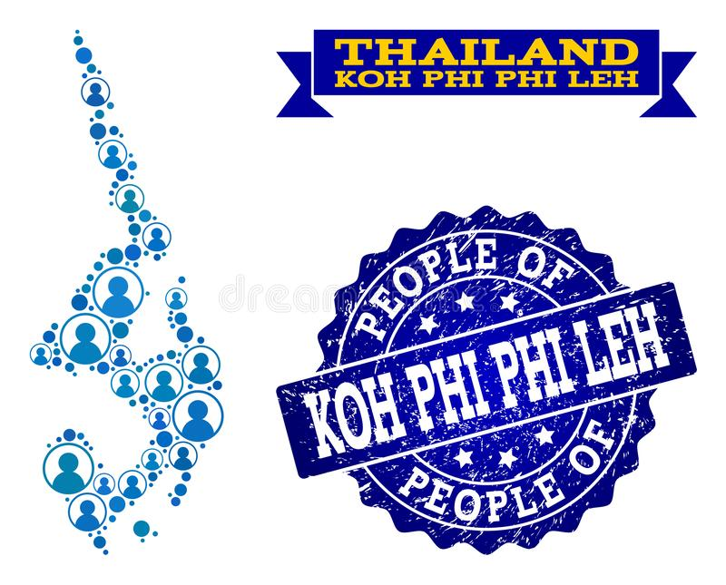 Collage de la gente del mapa de mosaico del sello de Koh Phi Leh y del sello del Grunge ilustración del vector