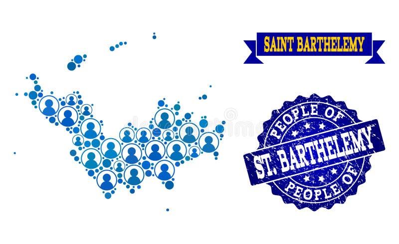 Collage de la gente del mapa de mosaico de St Barthelemy y del sello rasguñado stock de ilustración
