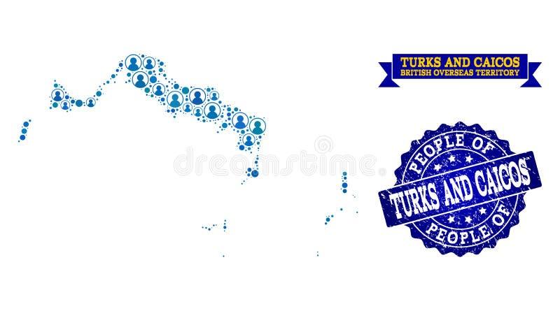 Collage de la gente del mapa de mosaico de Turks and Caicos Islands y del sello rasguñado stock de ilustración