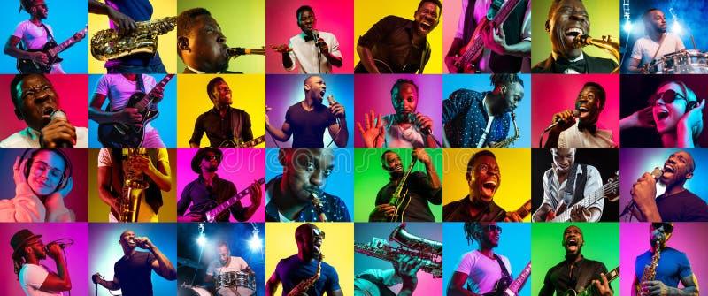 Collage de la gente joven en la luz de neón en fondo multicolor imagenes de archivo
