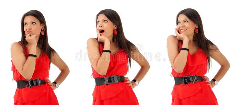 Collage de la jeune fille de brunette faisant des gestes avec le visage image stock