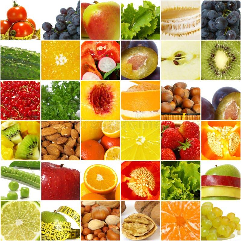 Collage de la legumbre de frutas imagenes de archivo