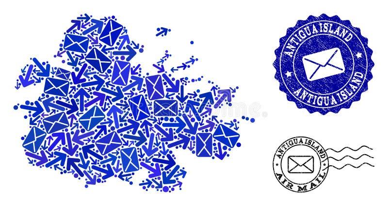 Collage de la livraison de courrier de carte de mosa?que d'?le de l'Antigua et de joints ray illustration libre de droits
