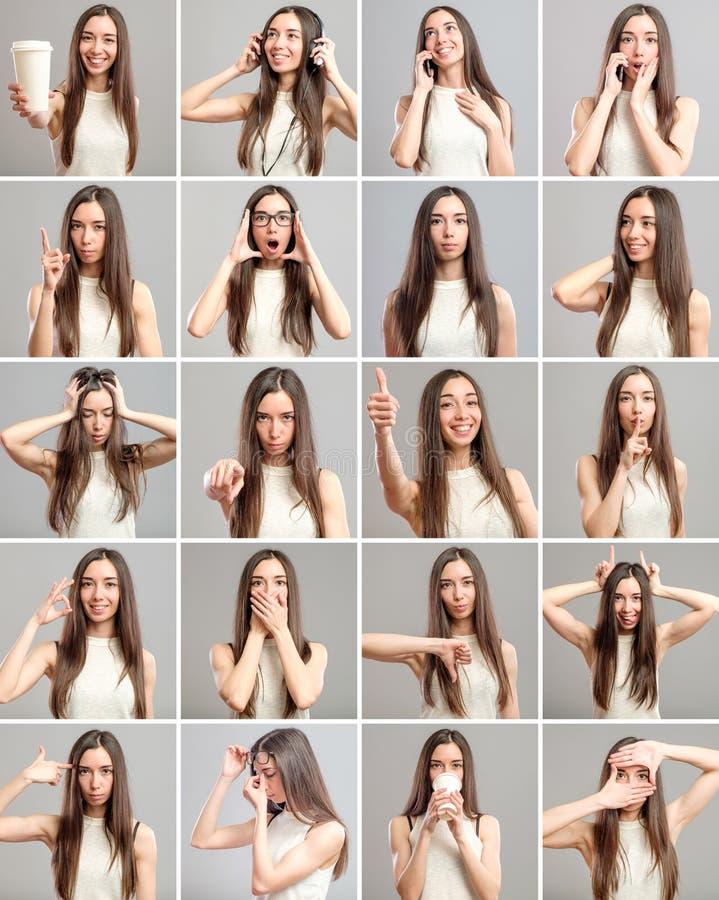 Collage de la muchacha hermosa con diversas expresiones imagen de archivo