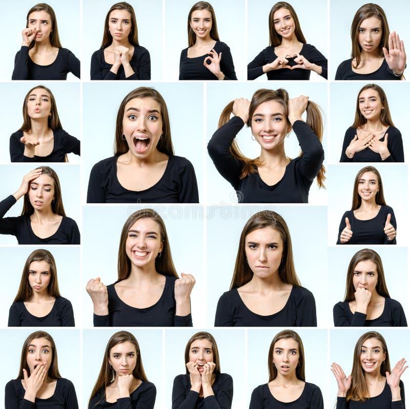 Collage de la muchacha hermosa con diversas expresiones faciales imagenes de archivo
