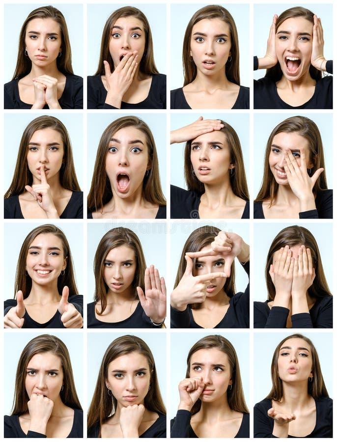 Collage de la muchacha hermosa con diversas expresiones faciales fotografía de archivo libre de regalías