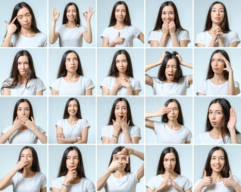 Collage de la muchacha hermosa con diversas expresiones faciales fotos de archivo libres de regalías