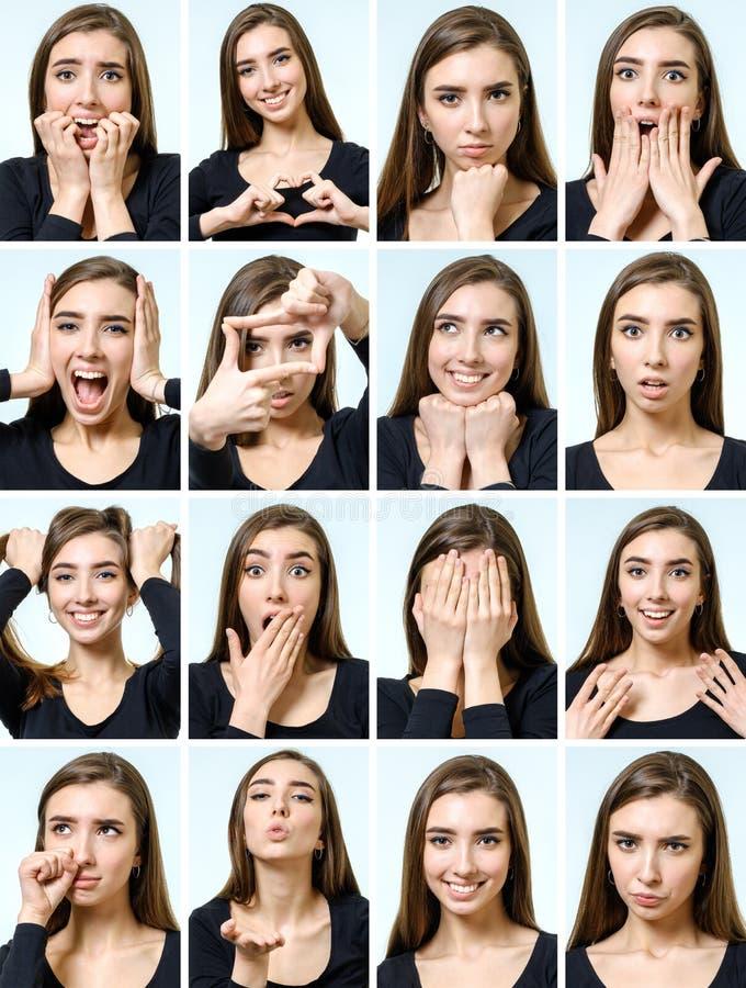 Collage de la muchacha hermosa con diversas expresiones faciales imágenes de archivo libres de regalías